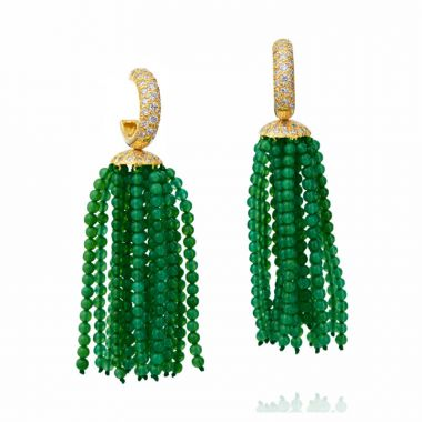 Gumuchian 18k Yellow Gold Green Onyx & Diamond Tassel Earrings