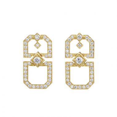 Gumuchian Secret Garden Deco Motif 18k Gold Drop Earrings