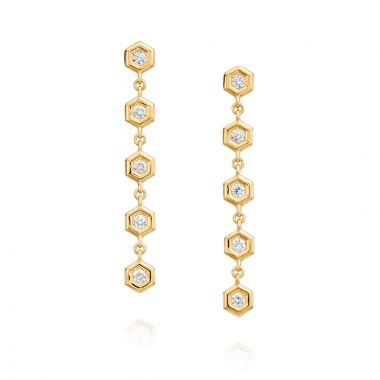 "Gumuchian Honeybee ""B"" 18k Gold & Diamond Honeycomb Dangle Earrings"