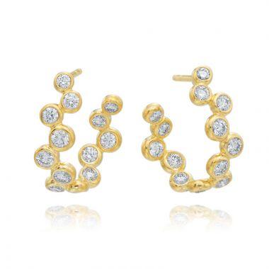 Gumuchian Moonlight 18k Gold Zigzag Curved Hoop Earrings