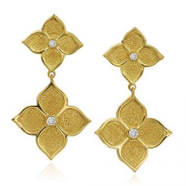 Gumuchian G. Boutique 18k Yellow Gold Diamond Lotus Drop Earrings