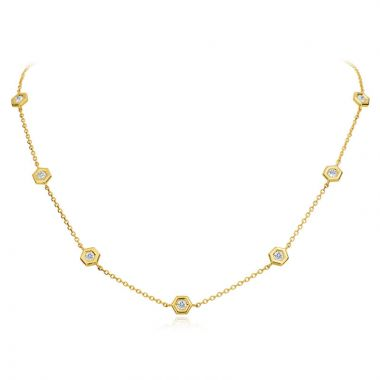 "Gumuchian Honeybee ""B"" 18k Yellow Gold Honeycomb Station Diamond Necklace"