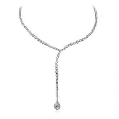 Gumuchian Cascade Riviera 18k White Gold Diamond Pear Drop Necklace