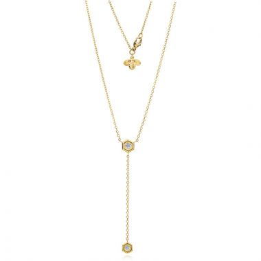 "Gumuchian Honeybee ""B"" 18k Yellow Gold Diamond Necklace"