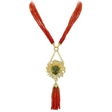 Gumuchian 18k Yellow Gold Tassel Tourmaline Necklace