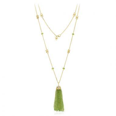 Gumuchian 18k Yellow Gold Diamond Tiny Hearts Peridot Tassel Pendant