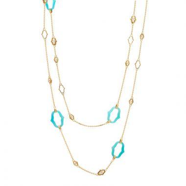 Gumuchian Secret Garden 18k Yellow Gold Blue Agate & Diamond Necklace