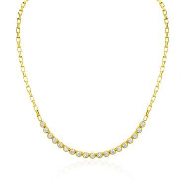 Gumuchian Moonlight 18k Yellow Gold Diamond Bezel Necklace
