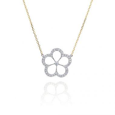 Gumuchian G. Boutique 18k Two Tone Gold Diamond Daisy Necklace