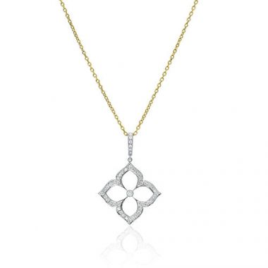 Gumuchian G. Boutique 18k Two Tone Gold Diamond Lotus Necklace
