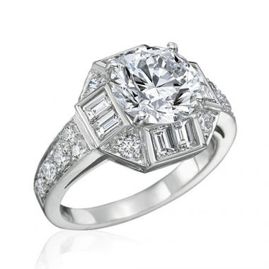 Gumuchian Bridal 18k White Gold Marina Diamond Halo Semi-Mount Engagement Ring
