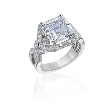 Gumuchian Bridal 18k White Gold Diamond Twisted Semi-Mount Engagement Ring