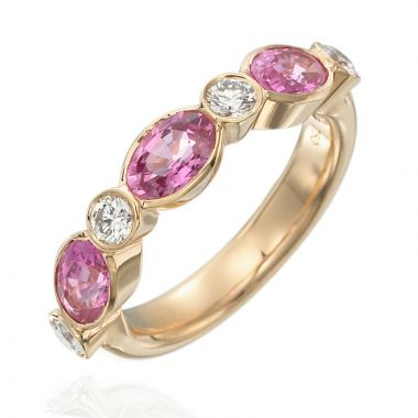 Gumuchian Marbella 18k Rose Gold Diamond Sapphire Stackable Ring