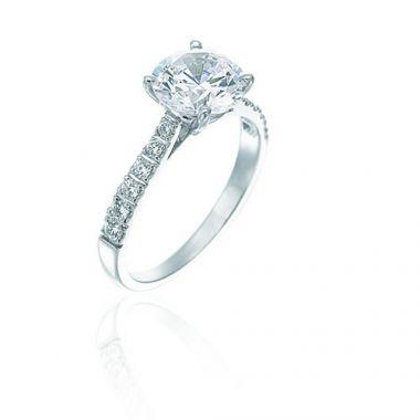 Gumuchian Bridal Platinum Diamond Straight Semi-Mount Engagement Ring