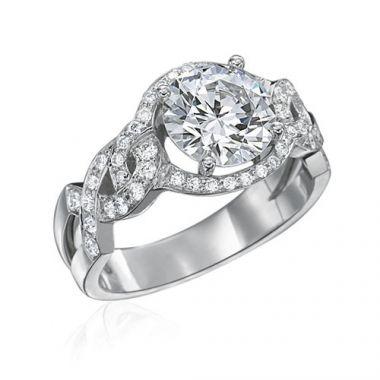 Gumuchian Bridal Platinum Diamond Twisted Semi-Mount Engagement Ring