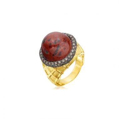 Gumuchian 18k Yellow Gold Chocolate Ice Cream Diamond and Gemstone Ring