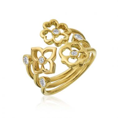 Gumuchian G. Boutique Motif 18k Yellow Gold Trio Diamond Ring