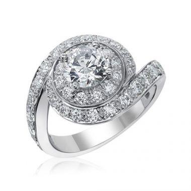 Gumuchian Bridal Platinum Bypass Swirl Diamond Semi-Mount Engagement Ring
