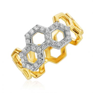 "Gumuchian Honeybee ""B"" Two Tone 18k Gold Ring"