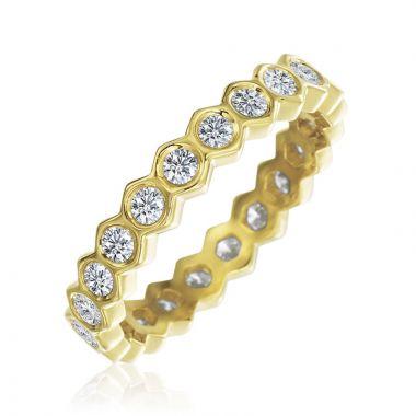 "Gumuchian Honeybee ""B"" 18k Gold Honeycomb Bezel Diamond Band Ring"