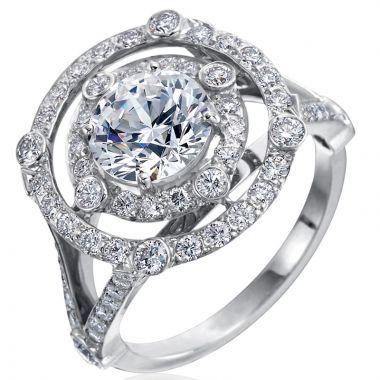 Gumuchian Carousel Platinum Diamond Illusion Double Halo Semi-Mount Engagement Ring