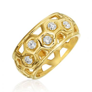 "Gumuchian Honeybee ""B"" 18k Gold Diamond Honeycomb Small Dome Ring"