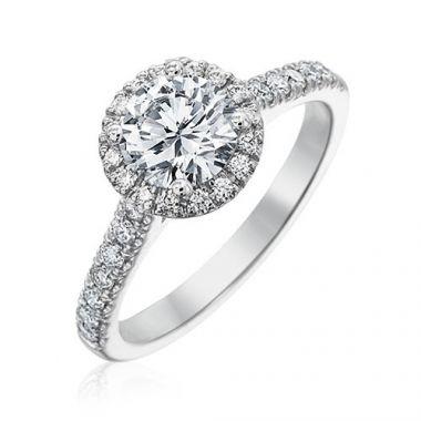 Gumuchian Bridal 18k White Gold Cinderella Diamond Halo Semi-Mount Engagement Ring