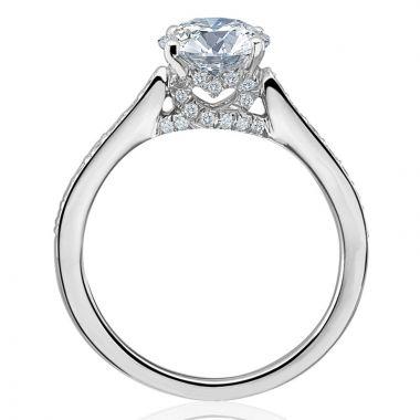Gumuchian 18k White Gold Diamond Tiny Hearts Motif Platinum Diamond Semi-Mount