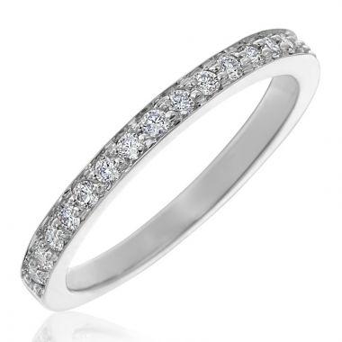 Gumuchian 18k White Gold Diamond Tiny Hearts Motif Halfway Diamond Wedding Band