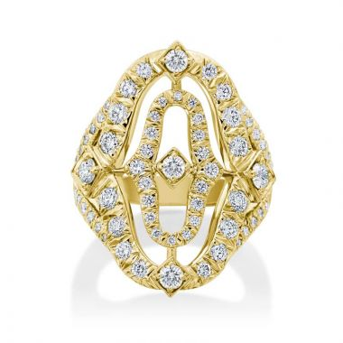 Gumuchian Secret Garden 18k Gold Outline Motif Illusion Diamond Ring